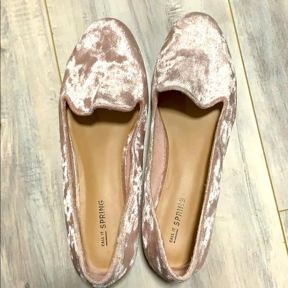 Call It SPRING Blush Velvet loafers